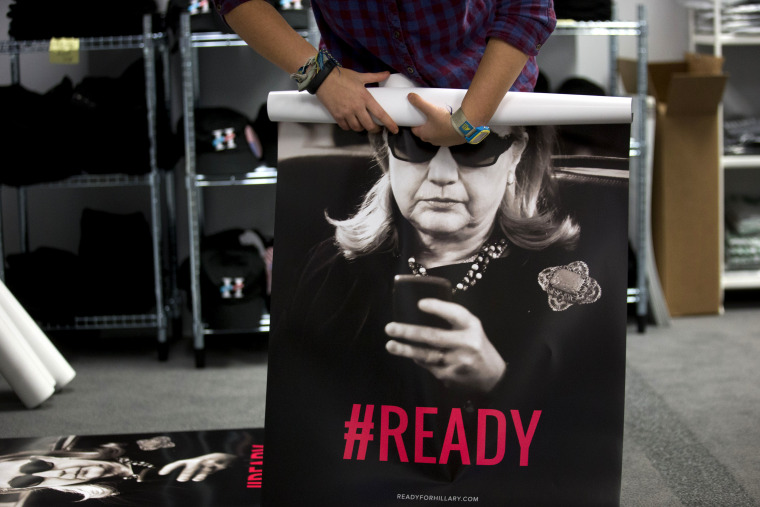 Nov. 12, 2014 at the Ready For Hillary PAC headquarters in Arlington, Va. Veteran Hillary Clinton advisers say she shouldn't accelerate her early 2015 timetable for announcing whether she'll run for president. (Andrew Harrer/Bloomberg via Getty Images)