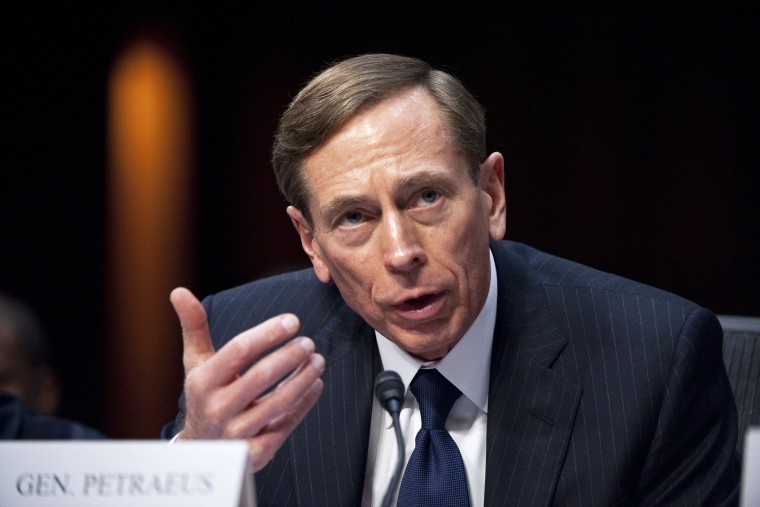 """CIA Director David Petraeus testifies during the Senate (Select) Intelligence Committee hearing on """"World Wide Threats"""" on, Jan. 31, 2012. (Photo By Bill Clark/CQ Roll Call/Getty)"""