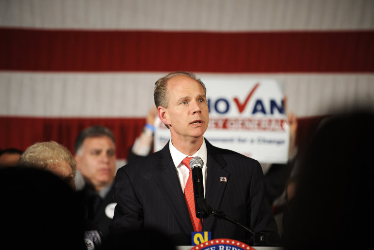 Republican New York State Attorney General candidate Dan Donovan delivers his concession speech after losing to Democrat Eric Schneiderman during the New York State GOP election eve festivities, Nov. 2, 2010 in New York.
