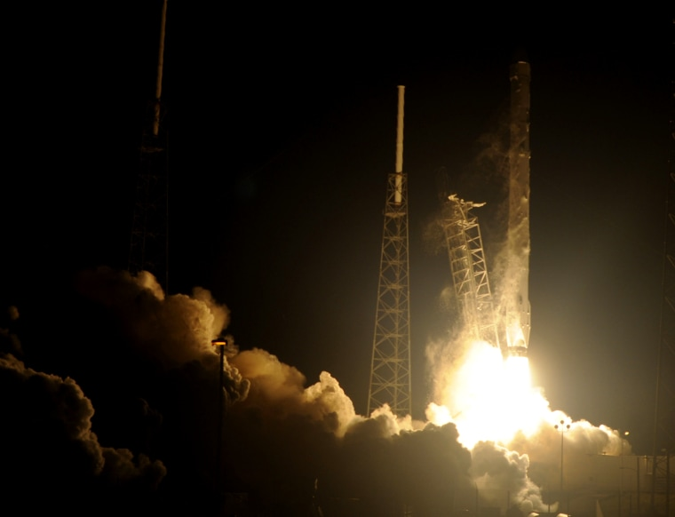 Space X's Falcon 9 rocket launched on Jan. 10, 2015 heading up to space from pad 40 at Cape Canaveral, Florida, carrying the Dragon CRS5 spacecraft on a resupply mission to the International Space Station (ISS).
