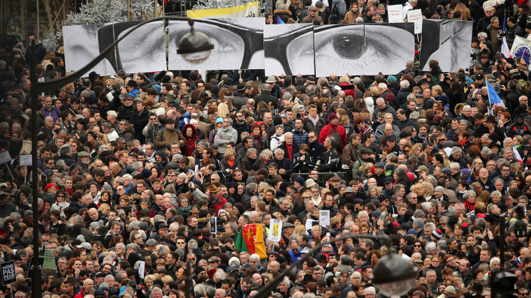 Demonstrators gather in Place de la Republique in Paris prior to a mass unity rally to be held in Paris following the recent terrorist attacks on Jan. 11, 2015. (Photo by Christopher Furlong/Getty)