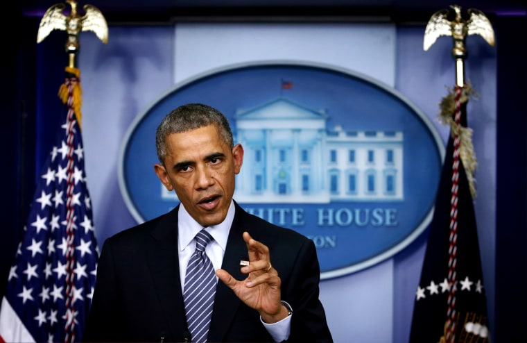 President Barack Obama makes a statement at the James Brady Press Briefing Room of the White House Nov. 24, 2014 in Washington, DC.