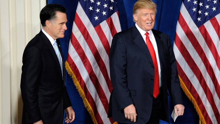 Republican presidential candidate, former Massachusetts Gov. Mitt Romney (L) and Donald Trump arrive at a news conference held by Trump to endorse Romney for president at the Trump International Hotel & Tower Las Vegas on Feb. 2, 2012 in Las Vegas, Nevada