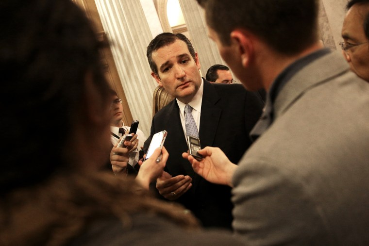 Sen. Ted Cruz (R-TX) speaks with reporters on Dec. 13, 2014 in Washington, D.C. (Photo by Win McNamee/Getty)