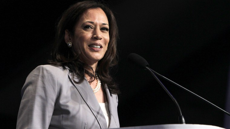 Attorney General Kamala Harris smiles speaks at an event in Sacramento, Calif., April 13, 2013. (Photo by Rich Pedroncelli/AP)