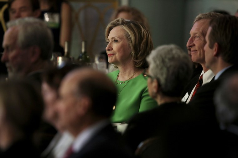 Hillary Clinton at a League of Conservation Voters event in New York on Dec 1, 2014. (Photo by Damon Winter/The New York Times/Redux)