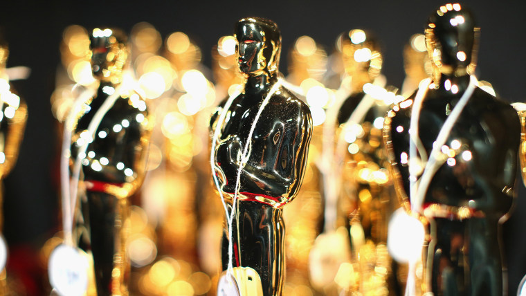 Oscar statuette on display backstage during the Oscars held at Dolby Theatre on March 2, 2014 in Hollywood, Calif. (Photo by Christopher Polk/Getty)