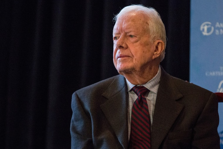 Former U.S. President Jimmy Carter speaks at a press conference on Jan. 12, 2015 in New York City.
