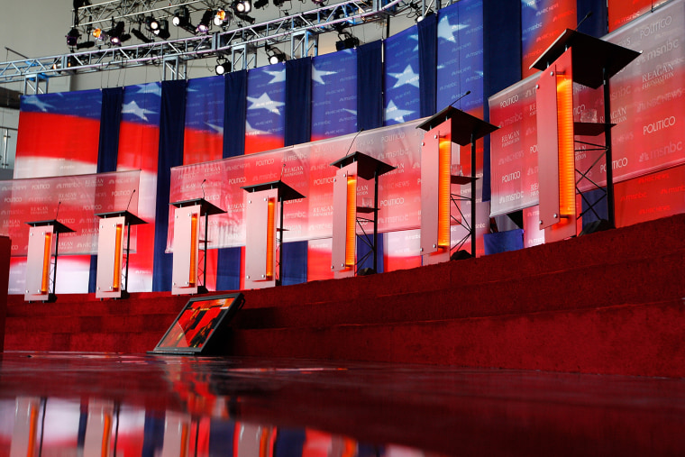 The stage is seen inside Air Force One Pavilion before the start of the Ronald Reagan Centennial GOP Presidential Primary Candidates Debate at the Ronald Reagan Presidential Library on Sept. 7, 2011 in Simi Valley, Calif. (Photo by David McNew/Getty)
