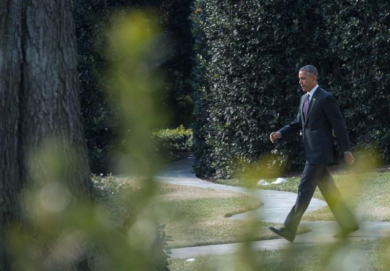 US President Barack Obama departs the White House in Washington, DC on January 15, 2015.