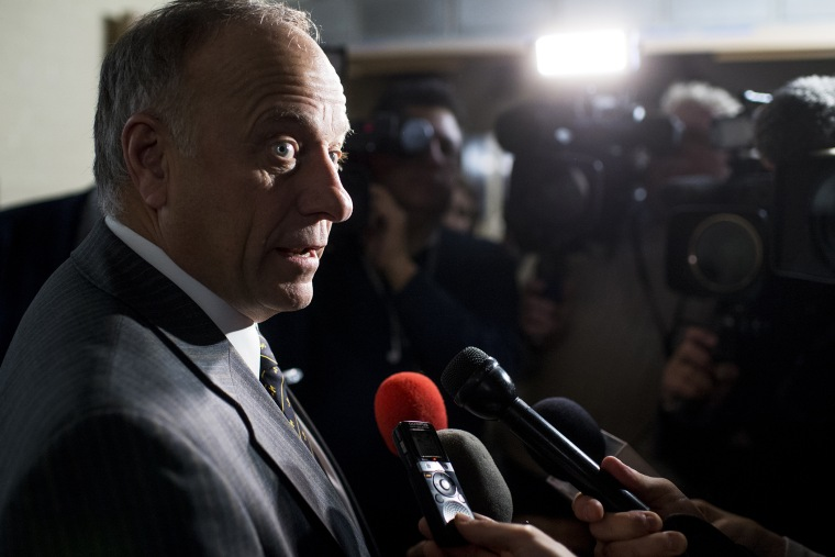 Rep. Steve King, R-Iowa, speaks with reporters following the House GOP caucus meeting on immigration on Jan. 9, 2015 in Washington, D.C. (Photo By Bill Clark/CQ Roll Call/AP)