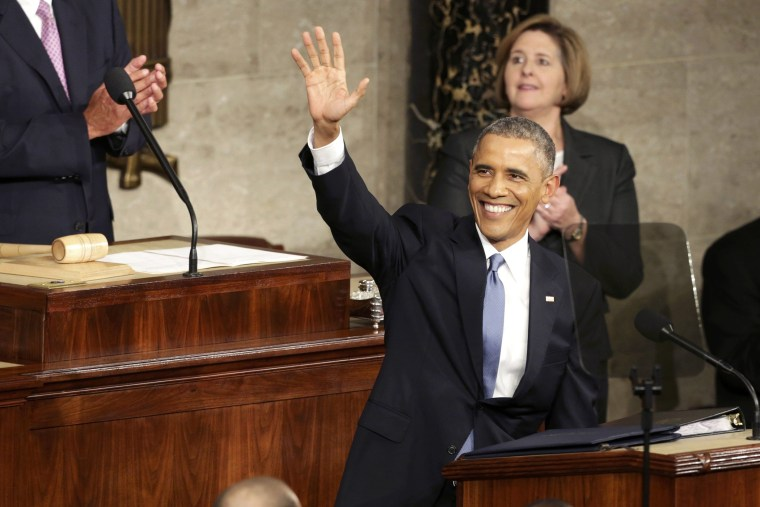 U.S. President Barack Obama waves at the start of his State of the Union address to a joint session of the U.S. Congress on Capitol Hill in Washington, Jan. 20, 2015. (Photo by Joshua Roberts/Reuters)