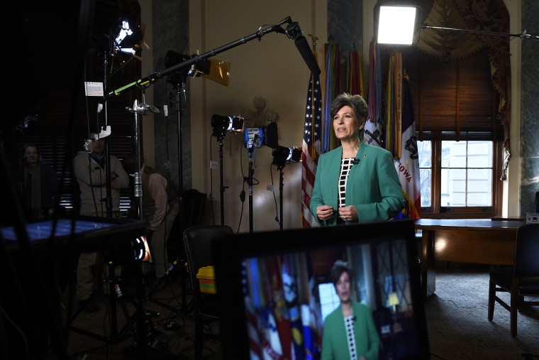 Sen. Joni Ernst, R-Iowa rehearses her remarks for the Republican response to President Obama'€™s State of the Union address, Tuesday, Jan. 20, 2015, on Capitol Hill in Washington, D.C. (Photo by Susan Walsh/AP)