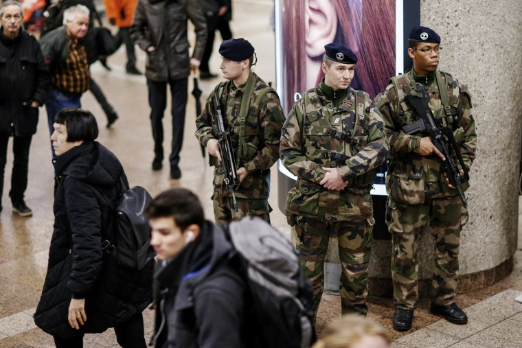 French soldiers patrol the Part-Dieu railway station in Lyon on Jan. 16, 2015. (Photo by Robert Pratta/Reuters)