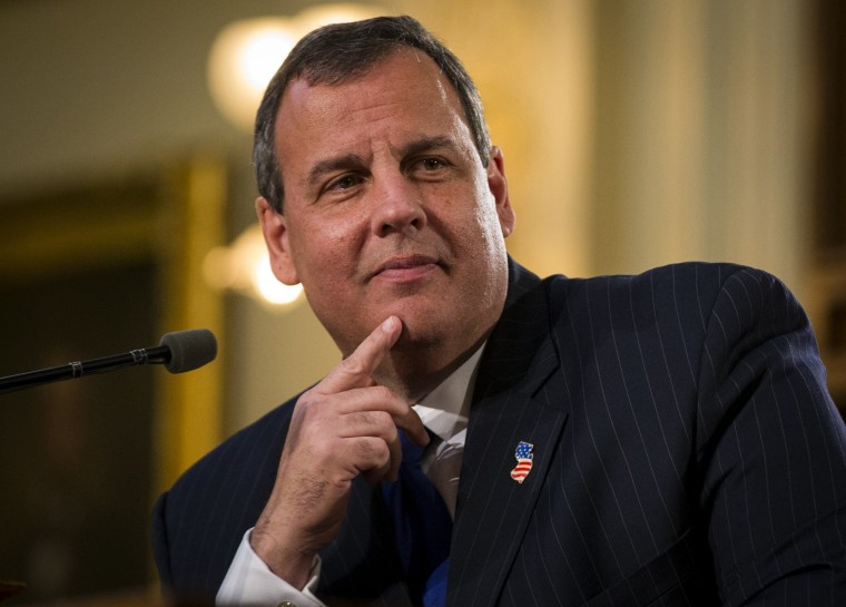 New Jersey Governor Chris Christie pauses as he delivers his state of the state address at the New Jersey State House in Trenton on Jan. 13, 2015.