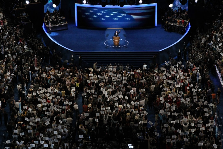 Former U.S. President Bill Clinton speaks on stage during day two of the Democratic National Convention at Time Warner Cable Arena on Sept. 5, 2012 in Charlotte, N.C.