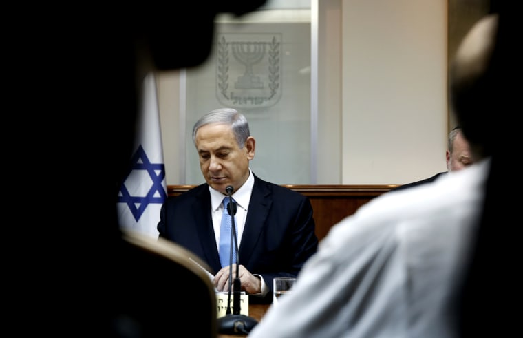 Israel's Prime Minister Benjamin Netanyahu attends a weekly cabinet meeting at his office in Jerusalem Jan. 25, 2015. (Photo by Baz Ratner/Reuters)