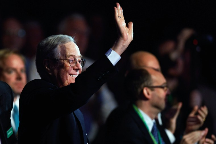 Americans for Prosperity Foundation chairman and Koch Industries Executive Vice President David H. Koch waves during an event on Nov. 4, 2011 in Washington DC. (Photo by Chip Somodevilla/Getty)
