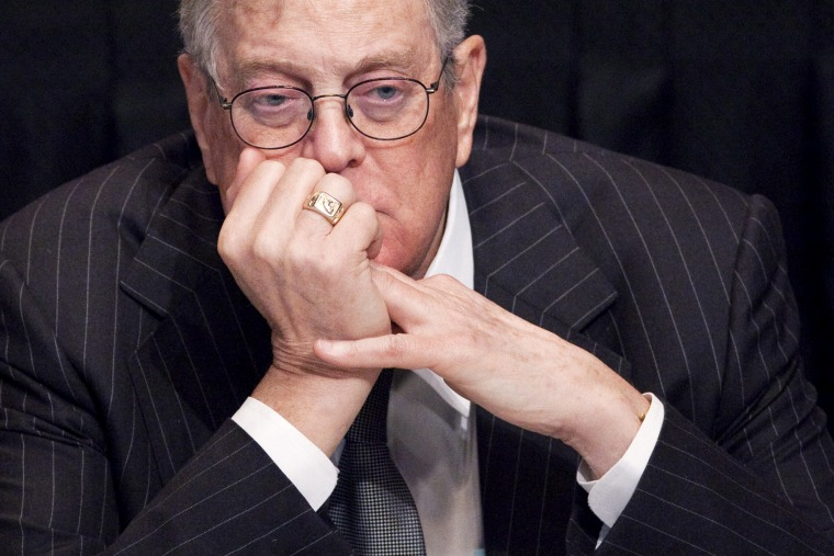 David Koch, executive vice president of Koch Industries, attends a meeting, April 11, 2011, in New York, NY. (Photo by Mark Lennihan/AP)