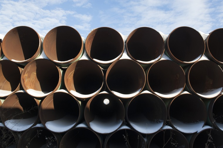 A depot used to store pipes for Transcanada Corp's planned Keystone XL oil pipeline is seen in Gascoyne, North Dakota on Nov. 14, 2014. (Photo by Andrew Cullen/Reuters)