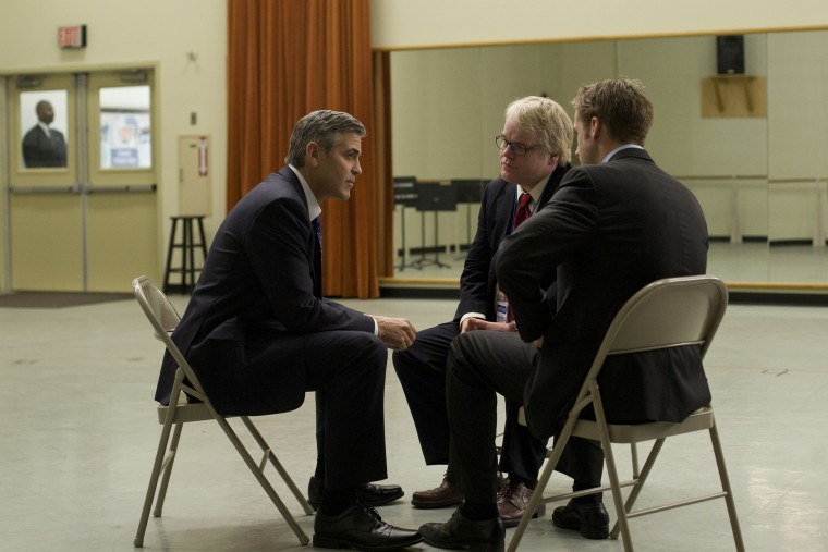 """In this image released by Colombia Pictures, from left, George Clooney, Philip Seymour Hoffman and Ryan Gosling are shown in a scene from """"Ides of March."""" (Saeed Adyani/Columbia Pictures/Sony/AP)"""