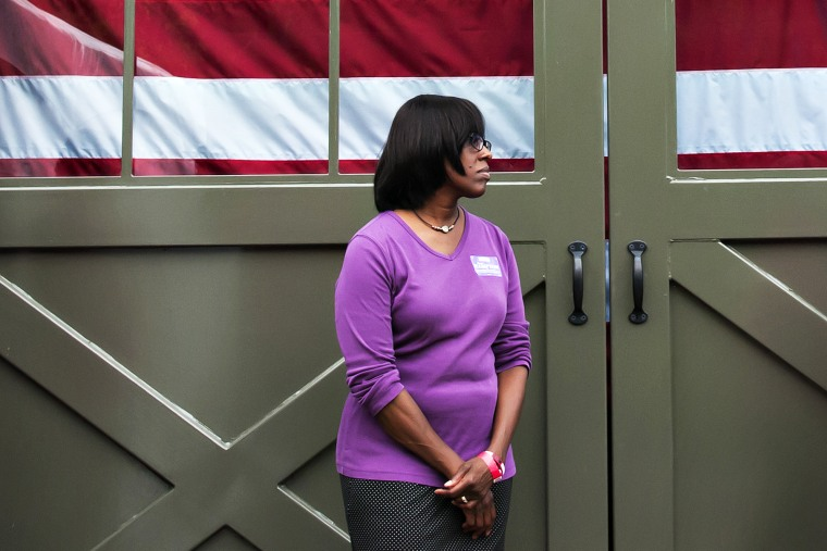 Jenean Hampton waits to speak on Oct. 12, 2014, during Rand Paul's Barnburner & BBQ in Bowling Green, Ky. (Photo by Bac To Trong/Daily News/AP)