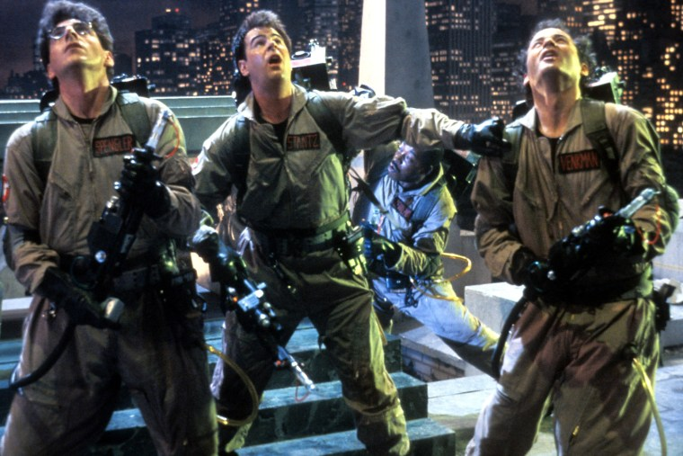 Harold Ramis, Dan Aykroyd, and Bill Murray in a scene from the film 'Ghostbusters', 1984. (Photo by Columbia Pictures/Getty)