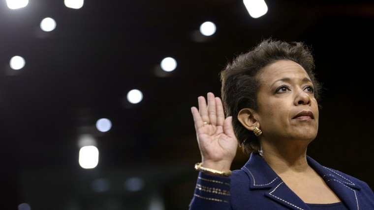 Loretta Lynch is sworn in during her confirmation hearing before the Senate Judiciary Committee on Jan. 28, 2015 in Washington, DC.