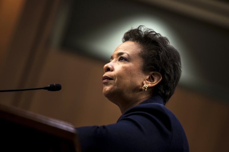 Loretta Lynch listens during her confirmation hearing before the Senate Judiciary Committee Jan. 28, 2015 in Washington, D.C. (Photo by Brendan Smialowski/AFP/Getty