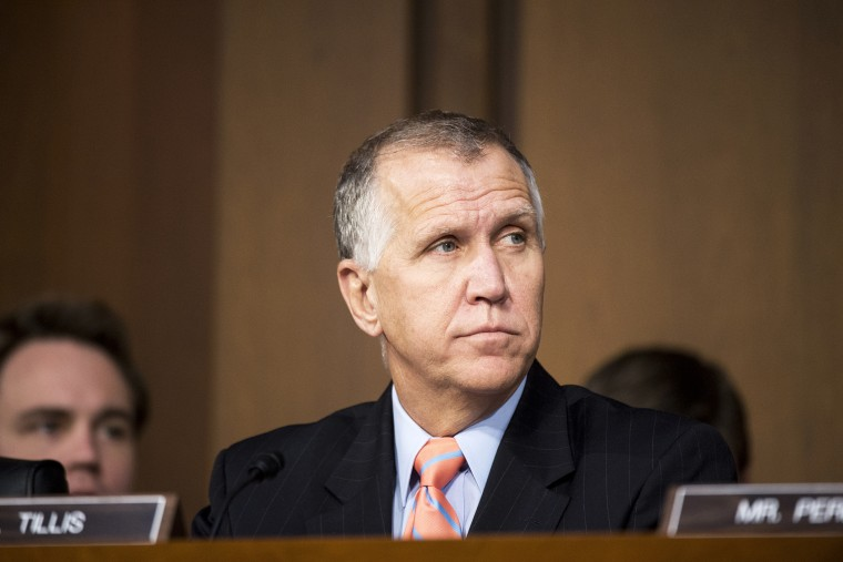 Sen. Thom Tillis, R-N.C., listens as U.S. Attorney General nominee Loretta Lynch testifies during her confirmation hearing in the Senate Judiciary Committee on Jan. 28, 2015. (Photo By Bill Clark/CQ Roll Call/AP)