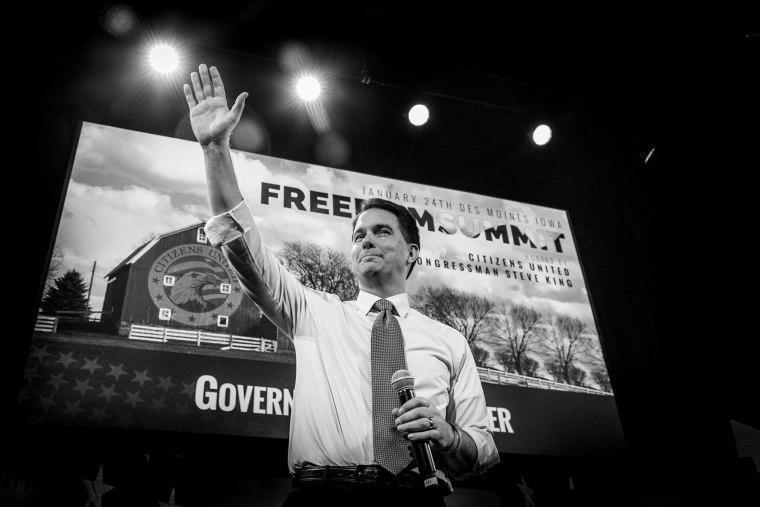 Wisconsin Gov. Scott Walker at the Iowa Freedom Summit in Des Moines, Iowa on Jan. 24, 2015.