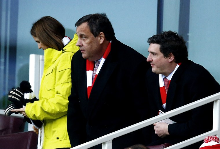 Governor of New Jersey Chris Christie attends Arsenal's English Premier League soccer match at the Emirates Stadium in London, Feb. 1, 2015. (Photo by Eddie Keogh/Reuters)