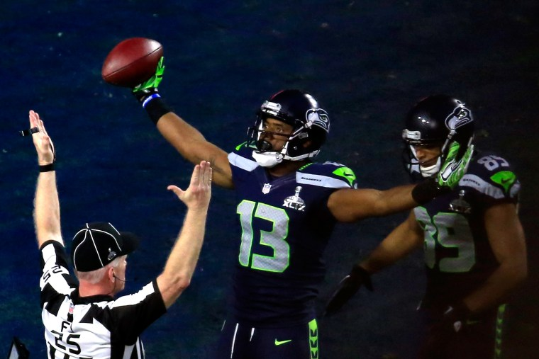 Chris Matthews of the Seattle Seahawks celebrates scoring an 11 yard touchdown late in the second quarter against the New England Patriots during Super Bowl XLIX at University of Phoenix Stadium on Feb. 1, 2015 in Glendale, Ariz.