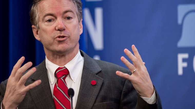 US Republican Senator from Kentucky Rand Paul addresses the 2015 Conservative Policy Summit at the Heritage Foundation in Washington, DC on Jan. 13, 2015. (Photo by Nicholas Kamm/AFP/Getty)
