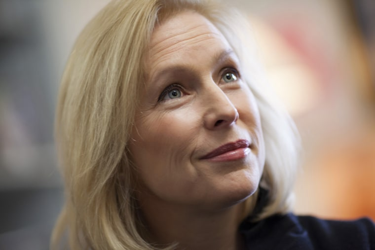This photo taken Jan. 21, 2014 shows Sen. Kirsten Gillibrand, D-N.Y., during an interview with The Associated Press in her Capitol Hill office in Washington. (Photo by J. Scott Applewhite/AP)