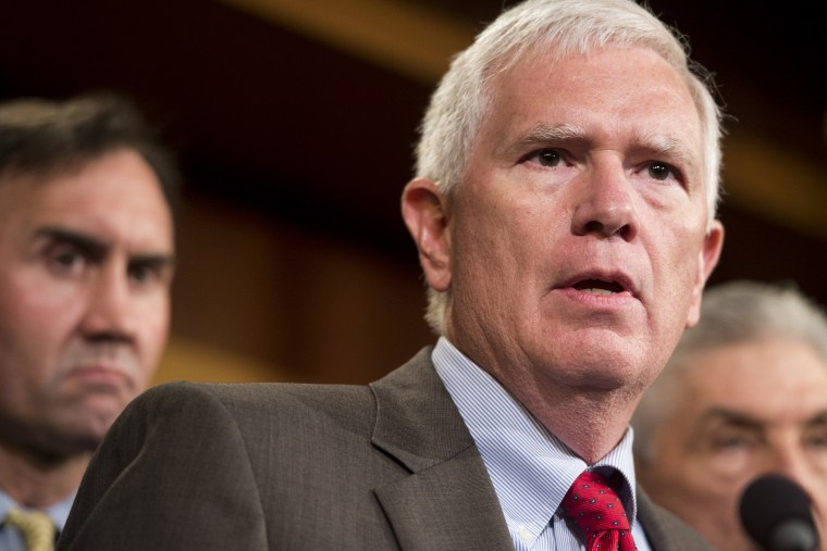 Rep. Mo Brooks, R-Ala., speaks during a news conference with House and Senate members on immigration on Sept. 9, 2014.