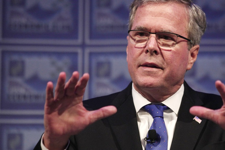 Former Florida Governor Jeb Bush speaks at the Detroit Economic Club on Feb. 4, 2015 in Detroit, Mich.
