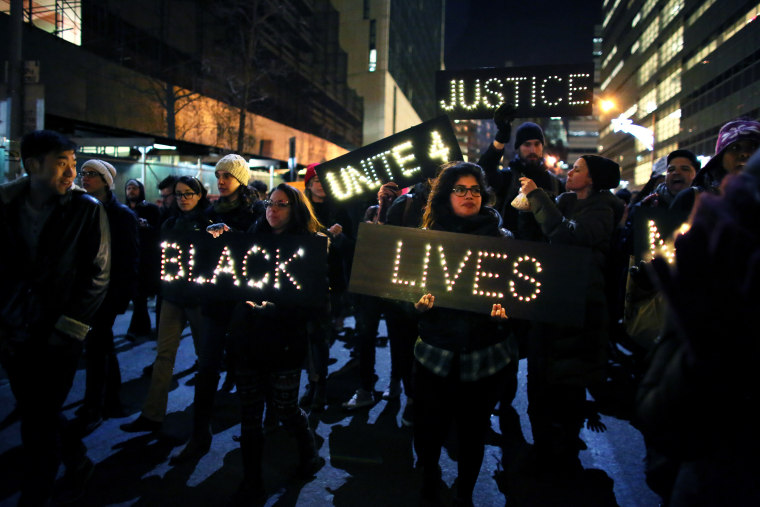 Marchers approach the West Side Highway during a protests Dec. 4, 2014 in New York. (Photo by Yana Paskova/Getty)