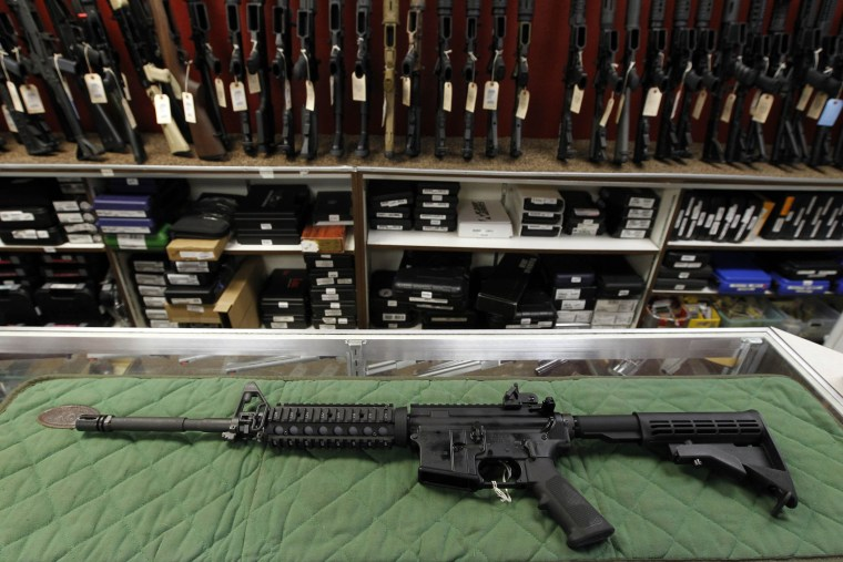 This July 26, 2012 file photo shows an AR-15 style rifle. (Photo by Alex Brandon/AP)