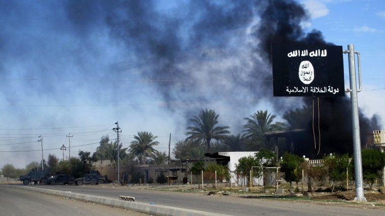 Smoke raises behind an Islamic State flag after Iraqi security forces and Shiite fighters took control of Saadiya in Diyala province from Islamist State militants, Nov. 24, 2014. (Photo by Stringer/Reuters)