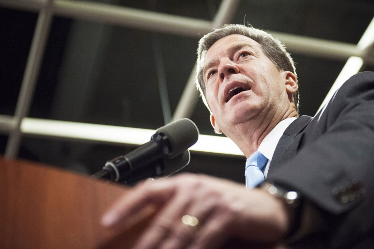 Republican Kansas Governor Sam Brownback speaks to supporters after winning re-election in the U.S. midterm elections in Topeka, Kansas, Nov. 4, 2014. (Photo by Mark Kauzlarich/Reuters)