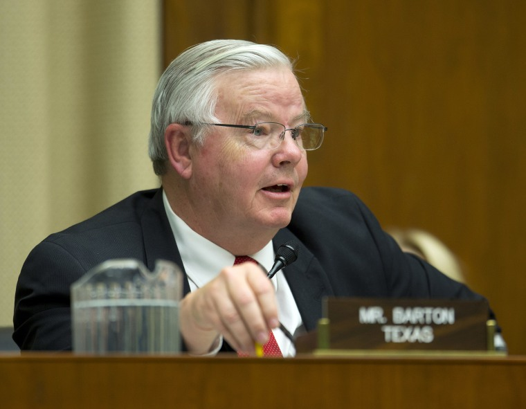 Rep. Joe Barton, R-Texas, hearing testimony before the House Energy and Commerce subcommittee on Oversight and Investigation on Capitol Hill in Washington, Tuesday, April 1, 2014.