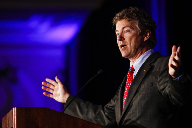 Kentucky Senator Rand Paul address attendees during the Republican National Committee spring meeting at the Peabody hotel in Memphis, Tenn., May 9, 2014. (Photo by William DeShazer/The Commercial Appeal/AP)