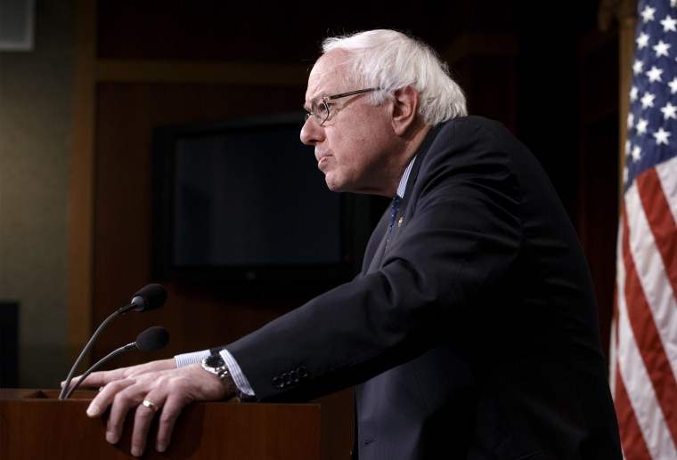 Sen. Bernie Sanders pauses during a news conference on Capitol Hill in Washington on Jan. 16, 2015, to discuss Republican efforts to cut Social Security and Medicare and other programs. (Photo by J. Scott Applewhite/AP)