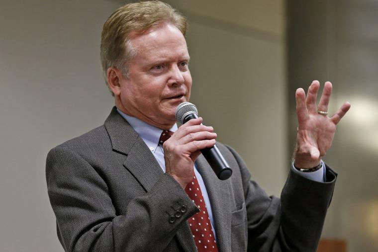 Former US Sen. Jim Webb, D-Va., speaks at the Virginia State Capitol in Richmond, Va., on Dec. 3, 2014. (Photo by Steve Helber/AP)