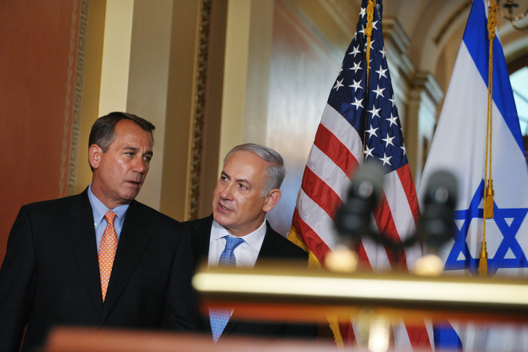 John Boehner, R-OH, and Israeli Prime Minister Benjamin Netanyahu make their way to the lectern to deliver statements, May 24, 2011 at the US Capitol in Washington, D.C. (Photo by Mandel Ngan/AFP/Getty)