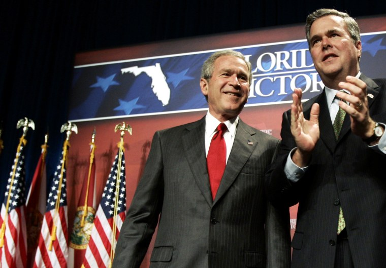 Then-US President George W. Bush is introduced by his brother, Florida Governor Jeb Bush, at a fundraiser in Orlando, Fl. Feb. 17, 2006. (Photo by Jason Reed/Reuters)