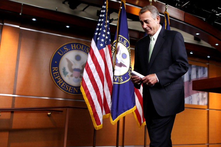 Speaker of the House John Boehner (R-OH) leaves after his weekly news conference in the Capitol Visitors Center at the US Captiol, Feb. 12, 2015 in Washington, DC. (Photo by Chip Somodevilla/Getty)
