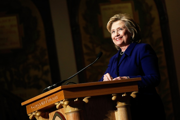 Hillary Clinton speaks during an awards presentation at Georgetown University, Feb.  25, 2014. (Photo by Win McNamee/Getty)
