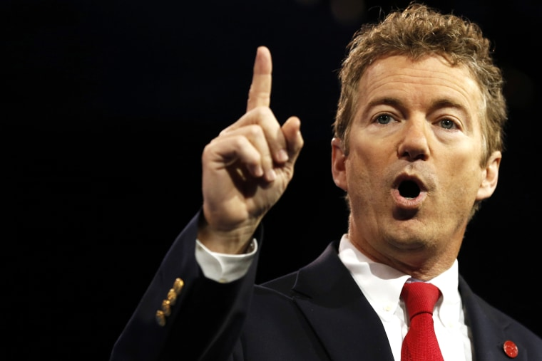 Senator Rand Paul of Kentucky gestures at the Conservative Political Action Conference (CPAC) at National Harbor, Md., March 14, 2013. (Photo by Kevin Lamarque/Reuters)